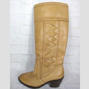 Fossil Tan Boots Sz 6.5 Braided Braid Felicia